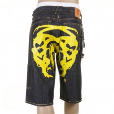 Super Exclusive Design Dark Indigo Raw Denim Shorts with Painted Yellow Logo