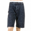 RMC JEANS Super Exclusive Selvedge Denim Shorts with Dark Blue Embroidered Tsunami Wave