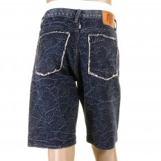Super Exclusive Selvedge Denim Shorts with Dark Blue Embroidered Tsunami Wave