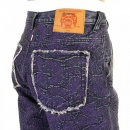 RMC JEANS Super Exclusive Selvedge Denim Shorts with Purple Embroidered Tsunami Wave