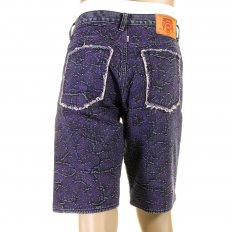 Super Exclusive Selvedge Denim Shorts with Purple Embroidered Tsunami Wave