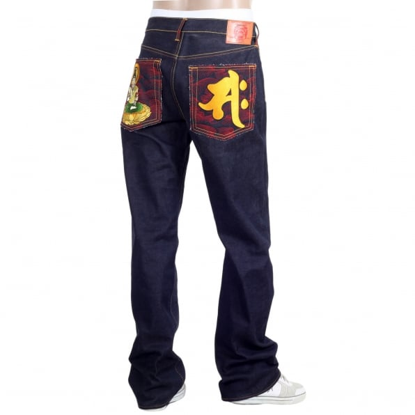 RMC JEANS Super exclusive Year Of The Horse vintage cut raw selvedge mens denim jeans