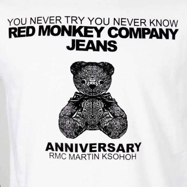 RMC JEANS Teddy Bear White Crew Neck Short Sleeve Regular Fit T-Shirt