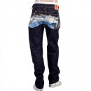 RMC JEANS Toyo Story Fisherman Dark Indigo Vintage Cut Raw Selvedge Denim Jeans for Men