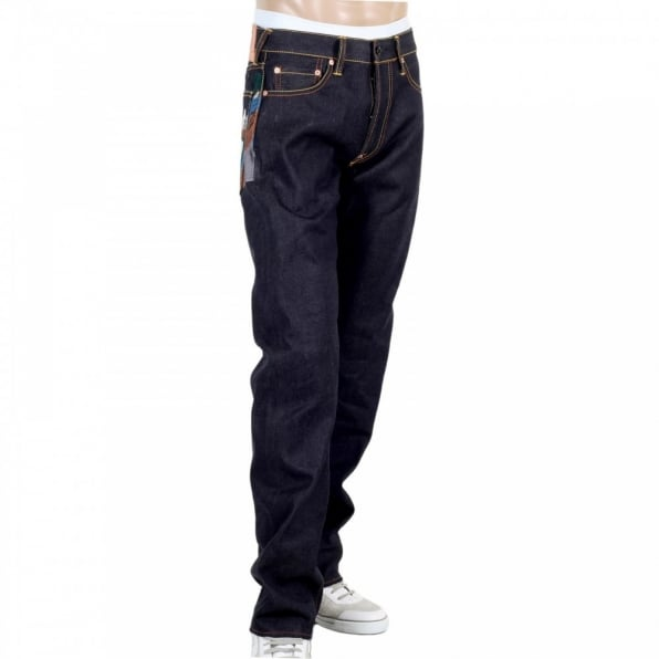 RMC JEANS Toyo Story Fisherman Dark Indigo Vintage Cut Raw Selvedge Denim Jeans for Men