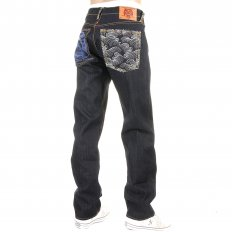 Tsunami Wave with blue Painted Logo Raw Denim Jeans
