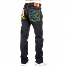 Tsunami Wave with Yellow Painted Logo Slimmer Cut Jeans