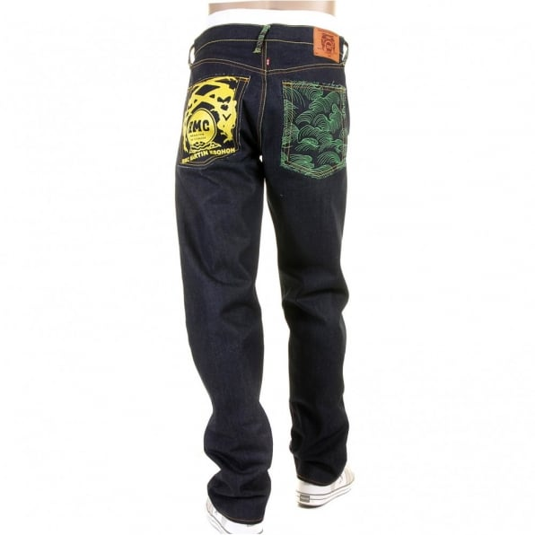 RMC JEANS Tsunami Wave with Yellow Painted Logo Slimmer Cut Jeans