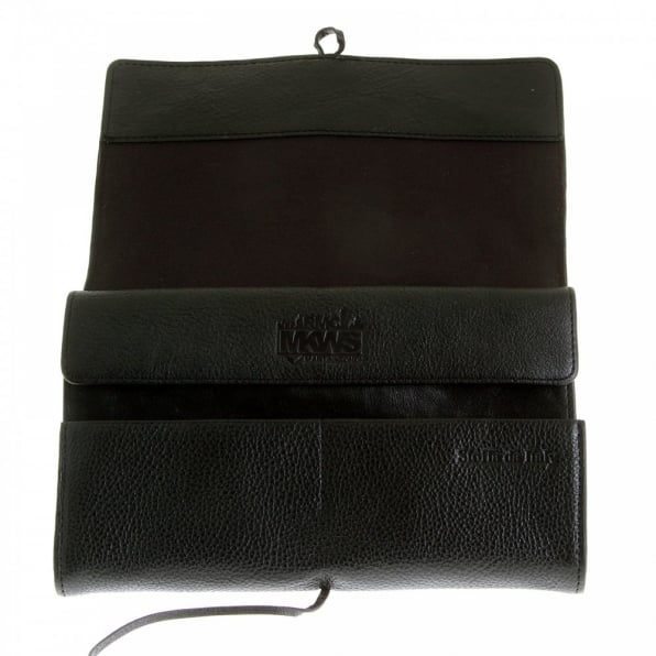 RMC JEANS Unisex Black Grain Leather Travel Wallet with Shoe Lace Tie Closure