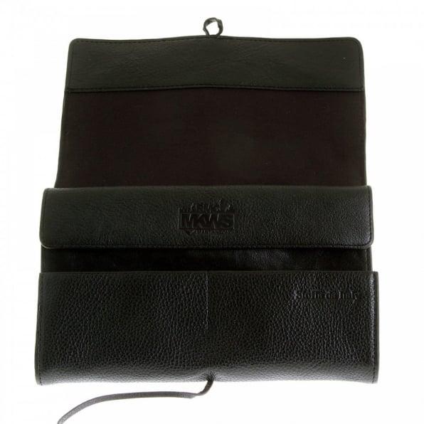 RMC JEANS Unisex Black Grain Leather Travel Wallet with Shoe Lace Tie Closure
