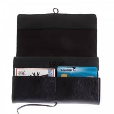 Unisex Black Grain Leather Travel Wallet with Shoe Lace Tie Closure