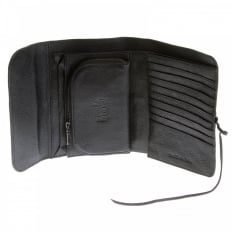 Unisex Black Leather Bill Fold Leather Wallet