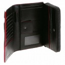 RMC JEANS Unisex Black Leather Large Travel Wallet with Red Leather Trim