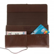 Unisex Brown Grain Leather Travel Wallet with Shoe Lace Tie Closure