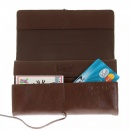 RMC JEANS Unisex Brown Grain Leather Travel Wallet with Shoe Lace Tie Closure