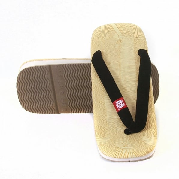 RMC JEANS Unisex Flip Flop Sandal with Velveteen Black Thong Strap