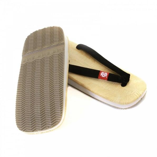 RMC JEANS Unisex Flip Flop Sandal with Velveteen Black Thong Strap