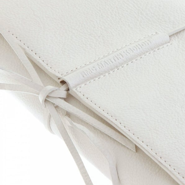 RMC JEANS Unisex White Grain Leather Travel Wallet with Shoe Lace Tie Closure