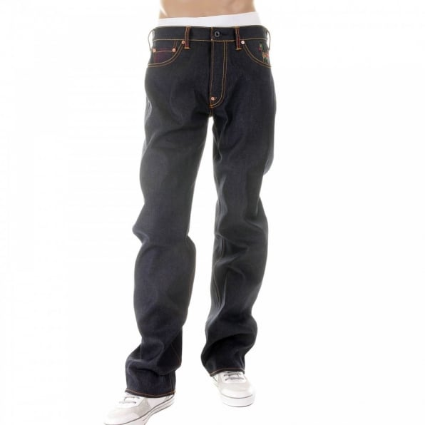 RMC JEANS Vintage Cut Dark Indigo Raw Denim Jeans for Men