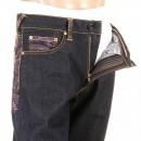 RMC JEANS Vintage Cut Dark Indigo Raw Denim Jeans with Pink Tsunami Waves