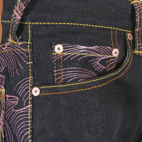 RMC JEANS Vintage Cut Dark Indigo Raw Denim Jeans with Pink Tsunami Waves