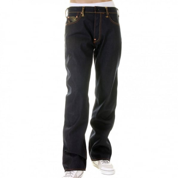 RMC JEANS Vintage Cut Dark Indigo Selvedge Raw Denim Jeans for Men
