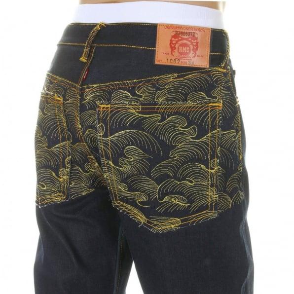 RMC JEANS Vintage Cut Dark Indigo Selvedge Raw Denim Jeans for Men