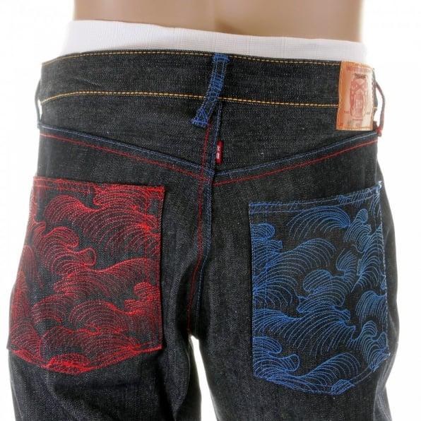 RMC JEANS Vintage Cut Dark Indigo Selvedge Raw Denim Mens Jeans