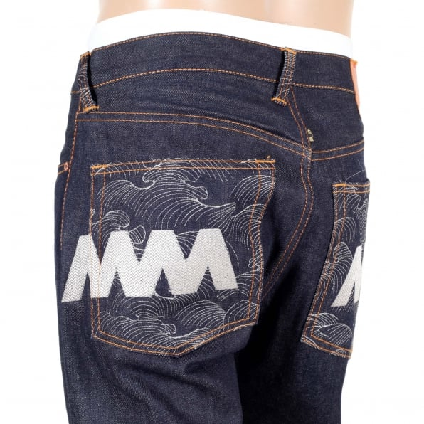 RMC JEANS Vintage Cut Selvedge Dark Indigo Raw Denim Jeans with Silver Embroidery