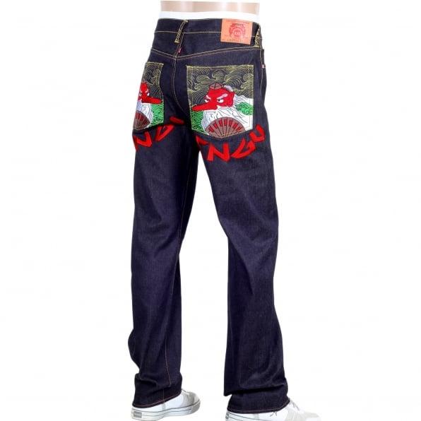 RMC JEANS Vintage cut Sky Dog Tengu dark indigo selvedge raw denim jeans