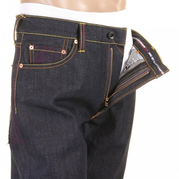 RMC JEANS Vintage Denim with Full back Purple Tsunami Wave