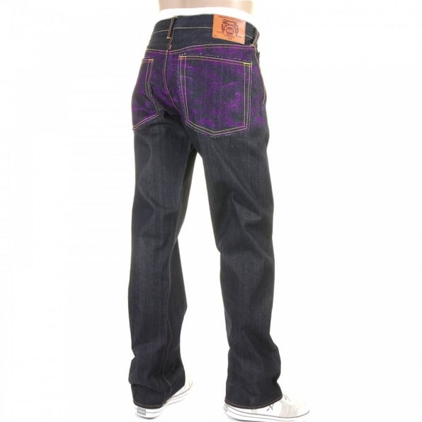 RMC JEANS Violet Vintage Cut Design Dark Indigo Raw Denim Jeans