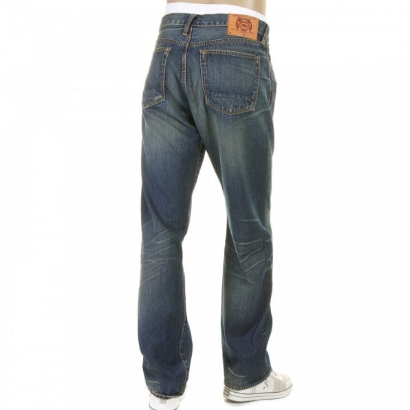 RMC JEANS Washed Vintage Selvedge Indigo Denim Jeans for Men