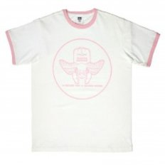 White Crew Neck Regular Fit Short Sleeve T-Shirt with Cupid Print in Pink