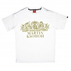 White Crew Neck Regular Fit Short Sleeve T-shirt with Printed Crest