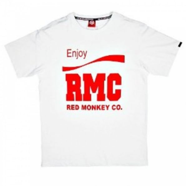 RMC JEANS White Crew Neck Regular Fit Short Sleeve T-Shirt with Printed Enjoy RMC