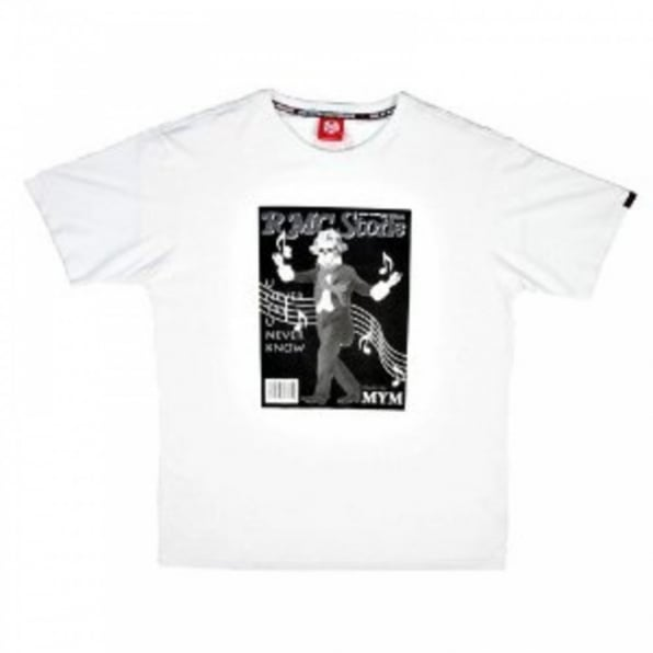 RMC JEANS White Crew Neck Regular Fit Short Sleeve T-Shirt with Printed RMC Stone
