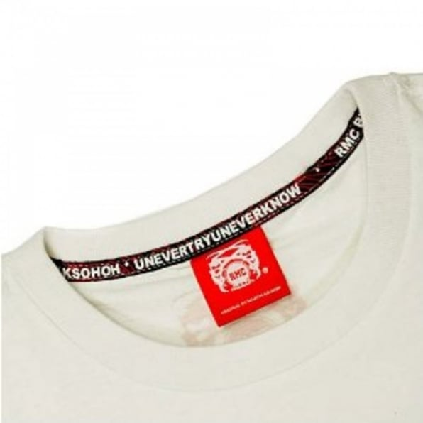 RMC JEANS White Crew Neck Regular Fit T-Shirt with Printed Half Monkeys