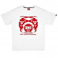 White Crew Neck Regular Fit T-Shirt with Printed Logo in Red