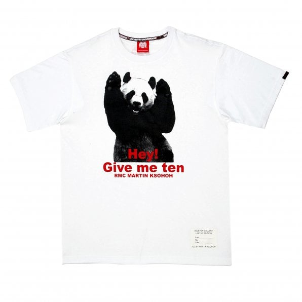 RMC JEANS White Crew Neck Regular Fit T-Shirt with Printed Panda