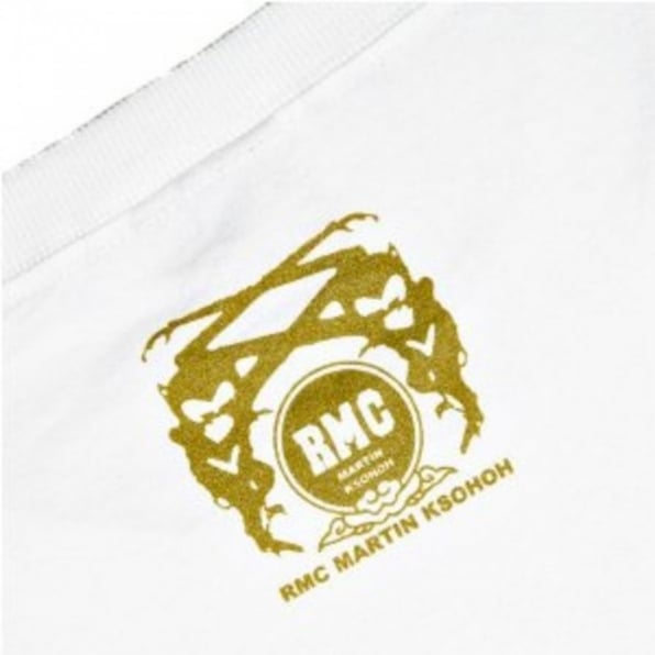 RMC JEANS White Crew Neck Short Sleeve Regular Fit T-Shirt with Gold Printed Logo