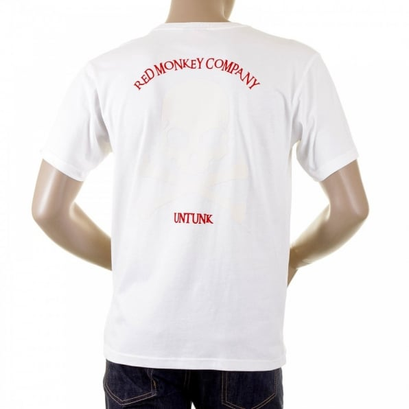RMC JEANS White Crew Neck Short Sleeve Regular Fit T Shirt with Large Ivory Skull and Crossbones Flock Print