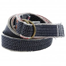 White embroidered denim belt