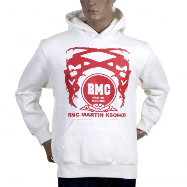 RMC JEANS White Hoodie with Printed Signature Red Logo