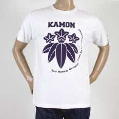 White Kamon T Shirt with Navy Blue Print