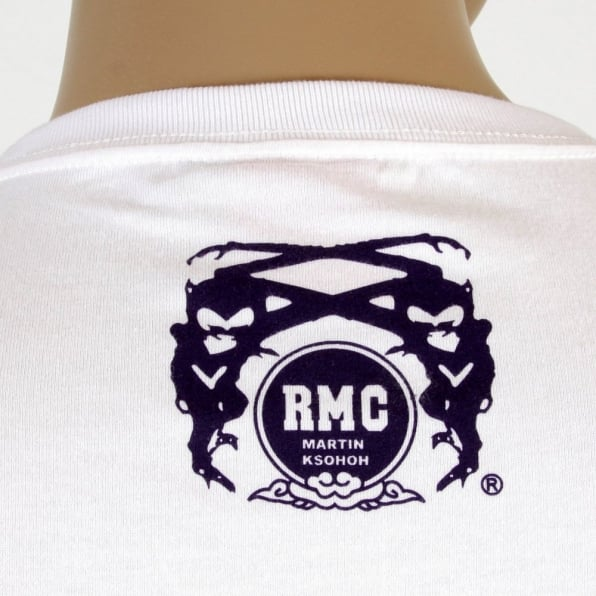 RMC JEANS White Kamon T Shirt with Navy Blue Print