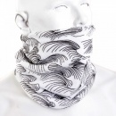 RMC JEANS White Neck Warmer Snood with Black Embroidered Tsunami Waves