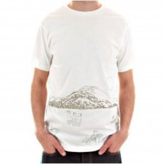 White Short Sleeve Cotton T-Shirt with Khaki Embroidered Toyo Story Porter Scene