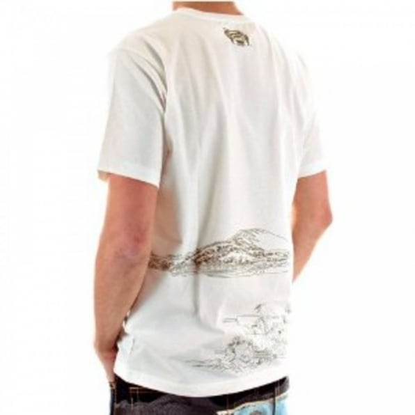 RMC JEANS White Short Sleeve Cotton T-Shirt with Khaki Embroidered Toyo Story Porter Scene