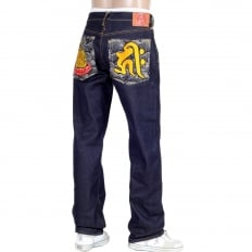 Year of the Dog Exclusive Design Dark Indigo Raw Denim Jeans
